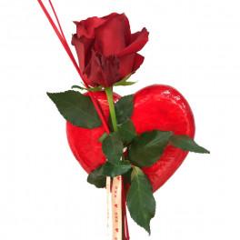 Rosa con corazón